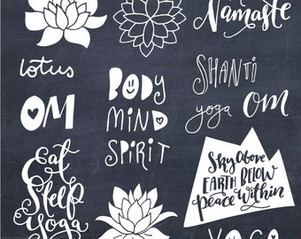 CLIP ART: Yoga Phrases & Lotus Flowers // Namaste Shanti Om // Zen Clipart Yoga Teacher Body Mind Spirit SVG Vector Files // Commercial Use