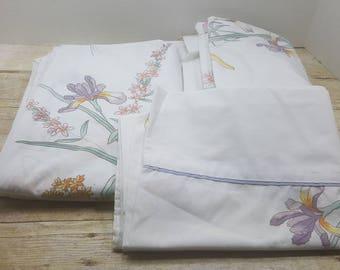 Twin Size Sheet Set, vintage sheets, 1980s, vintage bedding
