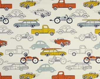 """Handmade Curtain/Window Valance in Red,Yellow and Blue Cars 100% Cotton,Home Decor,Nursery,Baby""""s Room"""