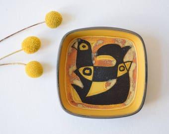 Aluminia / Royal Copenhagen - small dish - bird & fish - 784/2882 - Gerber - 70s  - Danish midcentury pottery