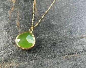 Green Jade Necklace/Greenery Necklace/Jade Stone/Teardrop/Green Jewelry/Pantone 2017 Jewellery/Pendant Necklace/Green Jade jewellery