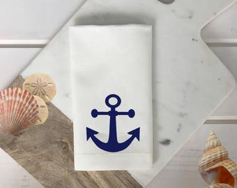 Anchor Napkins Set Nautical linen napkin white and navy blue napkin Nautical Decor Outdoor Entertaining wedding gift hostess gift