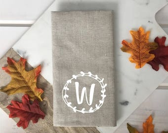 Personalized Monogram Linen Napkins with Fall table linen Custom napkin Neutral linen napkin brown white beige fall decor hostess gift