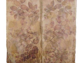 Gorgeous Mauve Eco-Friendly Ecoprint Botanical Ecodye Silk Scarf, Shawl, Wrap