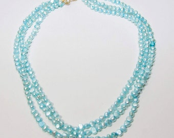 Three Strands Blue Pearl Necklace