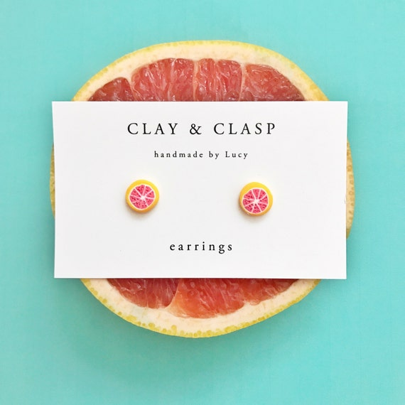 Pink Grapefruit Earrings
