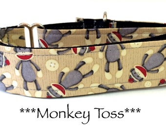 Martingale Dog Collar, Dog Collar, Adjustable Dog Collar, Buckle Dog Collar, Monkey Toss