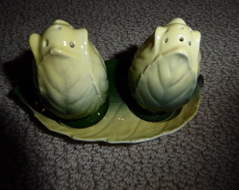Vintage Royal Winton Salt and Pepper Set With Tray Green and Yellow Leaf Pattern Circa Early 1950's