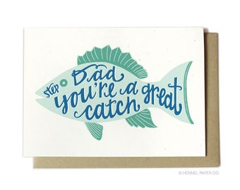 Stepdad Father's Day Card - Stepdad You're a Great Catch - Fishing card for stepdad - Step-Dad Fish Card - FD26