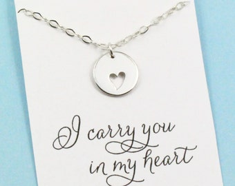 I Carry You in My Heart . Sterling Silver Necklace . New Mom . Adoption . Miscarriage . Memorial Jewelry . ALSO IN GOLD