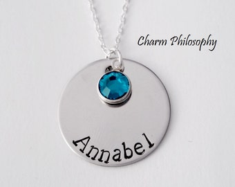 Birthstone Name Necklace - Hand Stamped Name or Word - Custom Personalized Jewelry - 925 Sterling Silver and Stainless Steel