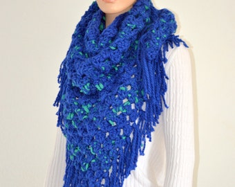 Green Sprinkled Blue Scarf/ Triangle Scarf/Dripping heart scarf/ Winter triangle scarf