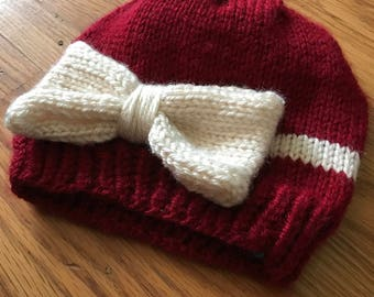 Hand Knit Hat with Bow