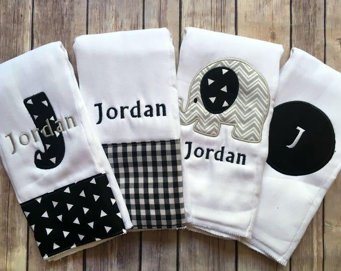 Baby Boy Elephant Burp Cloth Set, Elephant Burp, Black Grey, Boy Elephant Gift, Burp Cloth Set, Boy Burp, Personalized Boy, Monogrammed Boy