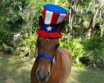 Stars and Stripes Hat for Horse or Pony - Soft Equine Patriotic Hat - Fun Red White Blue Horse Costume
