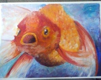 Goldfish oil painting