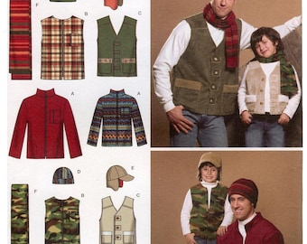 Boys' & Men's Jacket, Vests, Hats and Scarf sizes S-L and S-XL - Simplicity 4053 Sewing Pattern