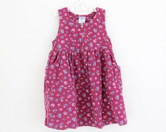 Vintage OshKosh B'gosh burgundy corduroy sleeveless dress with zip front and pockets, age 4