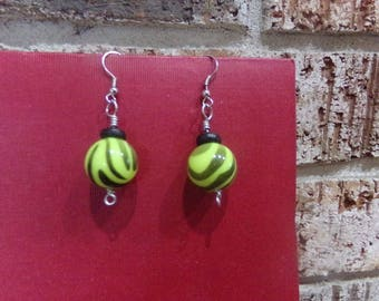 Dangle Earring in Black, Green, and Silver