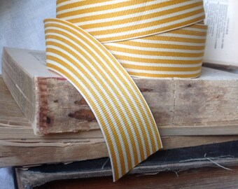 30 yard roll of butterscotch and cream striped grosgrain ribbon