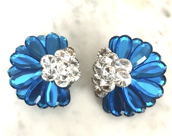 Vintage Blue and Clear Large Costume Clip On Earrings