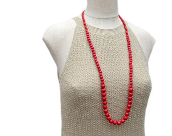 long red necklace / long red beaded necklace / long beaded necklace / wood bead necklace / red statement necklace