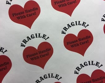 """Custom White Laser Labels for Lipsense Round 2"""" with FRAGILE Please Handle With Care! Pink or Red Hearts"""