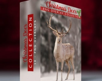 10 - Spotted Christmas Deer PNG Overlays