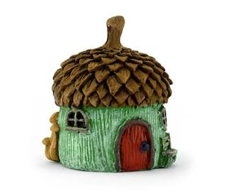 Micro Miniature Acorn Cottage Green  Fairy Garden House Fairy Garden  Accessories For Outdoor Fairy Gardens