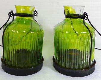 Two Glass Tealight Lanterns Glass and Metal  Color Green & Black  Candle Lanterns Glass Lanterns  Green Lanterns