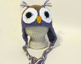Baby Owl Hat, Owl Baby Clothes, Earflap Hat, Crochet Fun Hat For Babies