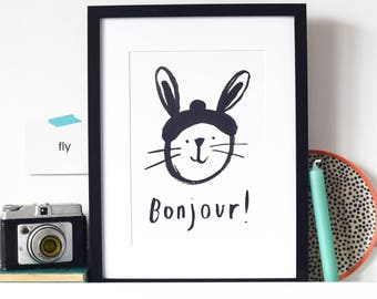Bunny Rabbit Bonjour print - perfect for a child's bedroom or nursery