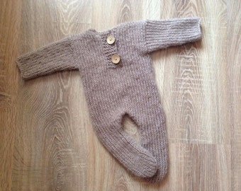 SALE!  Pajamas Newborn romper, Mohair Newborn onesie, Newborn Long Sleepy, Dark Beige