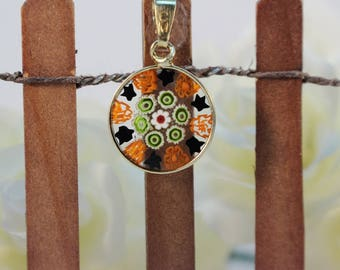 14mm Murano Millefiori Lampwork Glass Pendant 24K Gold Plated Sterling Silver Red Black Green