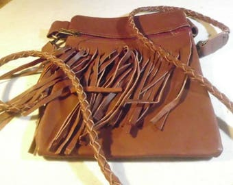 Brown Leather fringe cross body purse / hand braided strap/ purse/bag/ leather possible bag