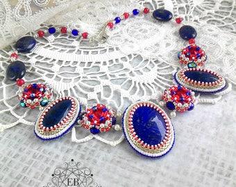"Necklace ""Voyage"",  beadwork, natural stones, Swarovski, jewelry, handwork, exclusive"