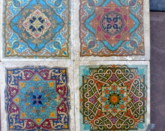 Moroccan Travertine Coasters - Stone Coasters - Decorative tile coasters - set of 4 - Marble coasters - Moroccan Tile - coasters