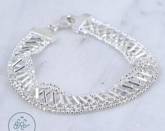 "Sterling Silver - 10mm Multi-Strand Bead Chain Geo Mesh 10.5g - Bracelet (7.5"")"