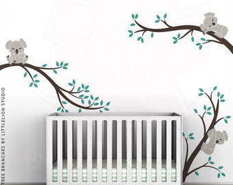 Koala Tree Branches Wall Decal by LittleLion Studio. Dark Brown, Turquoise, Warm Gray, Charcoal.