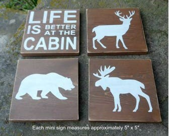 Mini wood signs, set of 4, life is better at the cabin, rustic cabin decor, woodland animal signs, cottage signs, small sign set