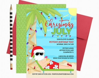 Christmas in July Invitation, Christmas in July, Summer Christmas, Summer Santa, Santa in July, xmas July, July Christmas    629
