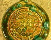 New Orleans Water Meter handmade green and blue green pottery Ornament or Wall Hanging