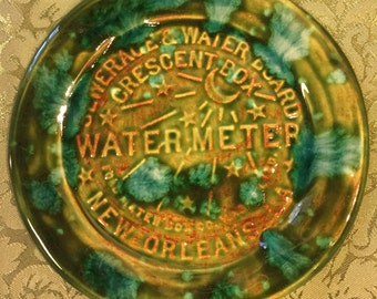 New Orleans Water Meter green and blue green handmade Pottery Souvenir Plate