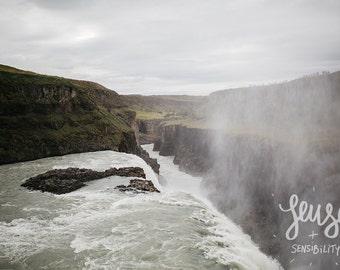 Gullfoss Fine Art Photograph, Landscape Photography, Gullfoss Waterfall Print - Golden Falls
