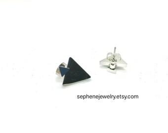 Double Triangle Earring Jacket Studs Earring Silver Finish, geometric studs, earring jackets, triangle earrings, double sided earring