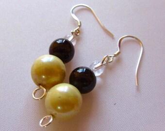 "Garnet and Pearl Earrings, Pearl Earrings, Garnet Earrings, Sterling Silver Ear Wires, 1.75 "" drop earrings, gemstone earrings"