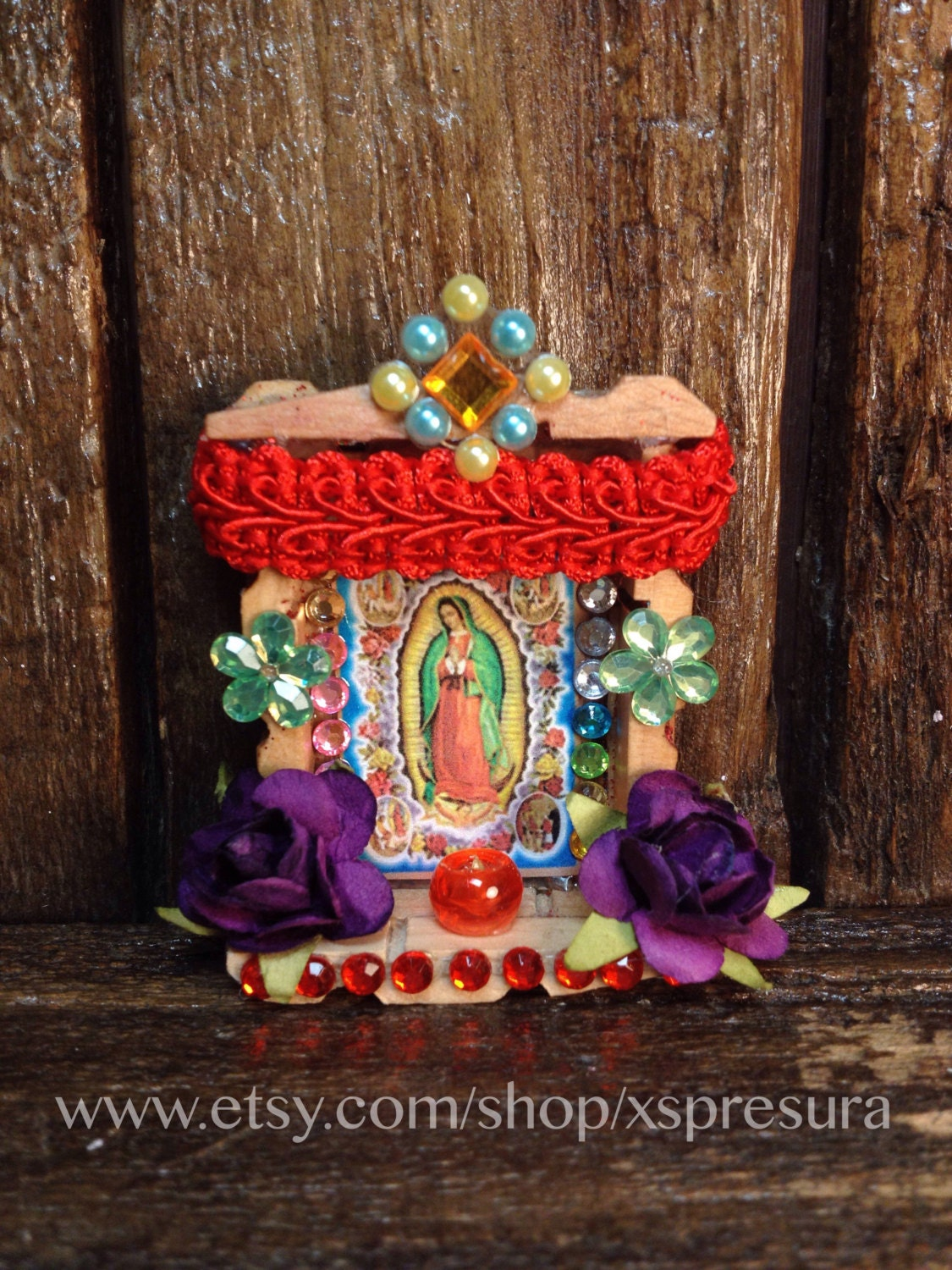 Virgin Guadalupe Handmade Altar Our Lady Of Guadalupe Nicho