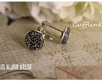 Sale - Grey Faux Druzy Cufflinks  Groomsman Best Man Gift (CF-2)