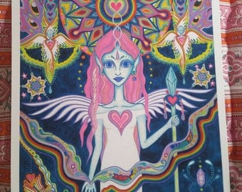 Angel Goddess Ascension Watercolor Visionary Art Print