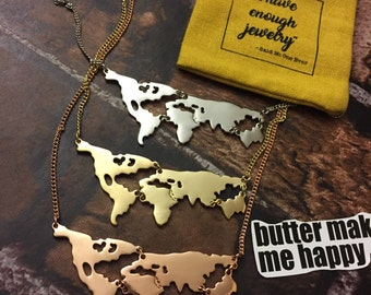 World Map Necklace FREE DUSTCOVER Multiple Colors